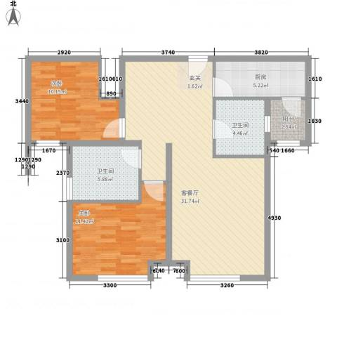 万锦香颂2室1厅2卫1厨101.00㎡户型图