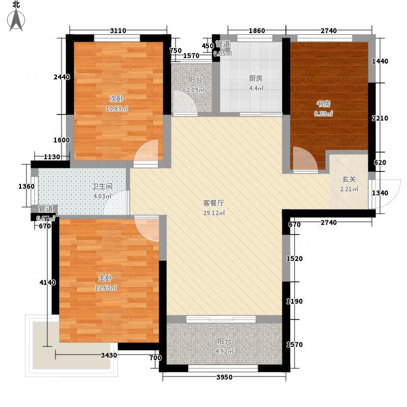 巨一首府111.73㎡6#、7#楼西边户E户型3室2厅1卫1厨