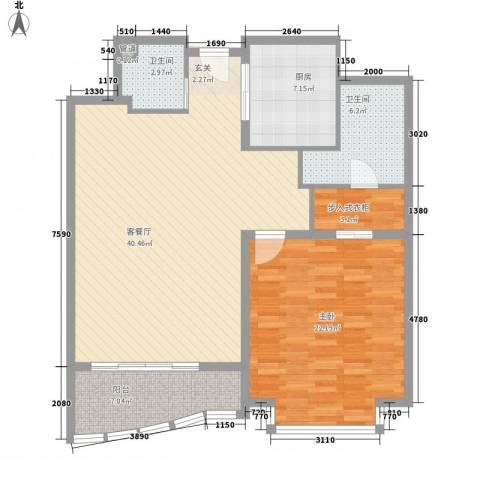 白金公寓1室1厅2卫1厨125.00㎡户型图
