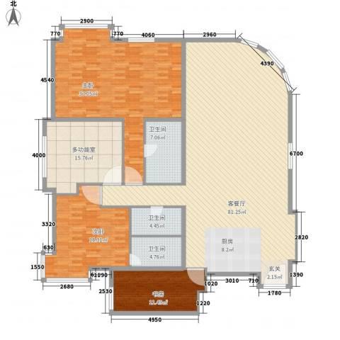 白金公寓3室1厅3卫0厨245.00㎡户型图