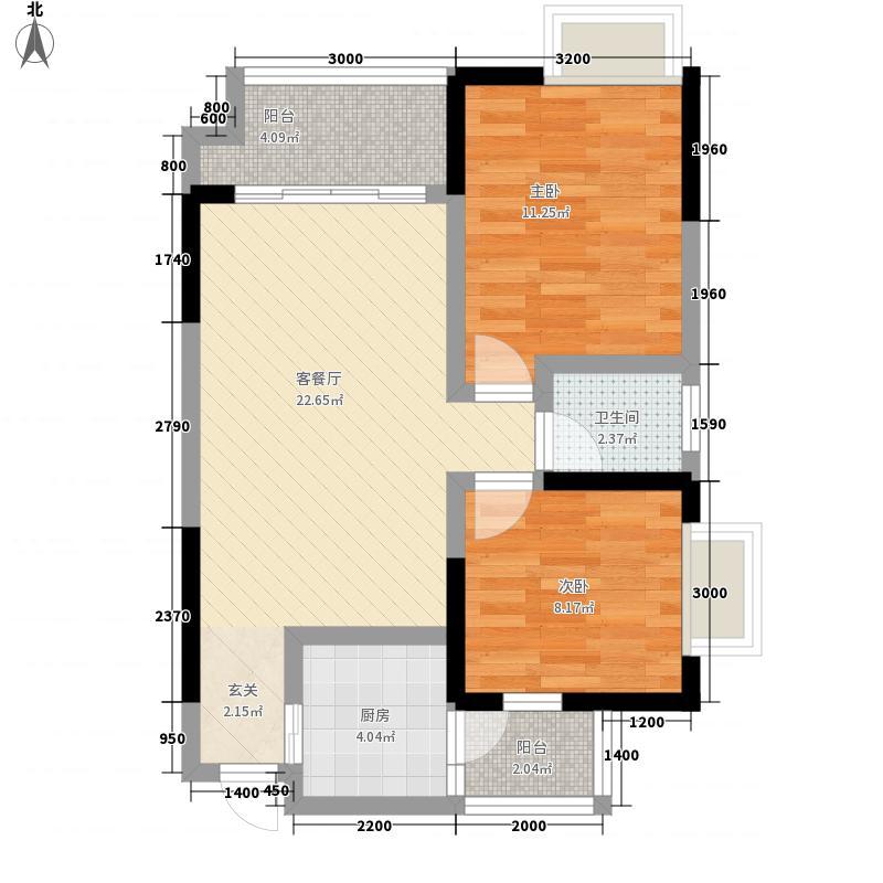 一新国际社区375.41㎡C3-E户型2室2厅1卫1厨