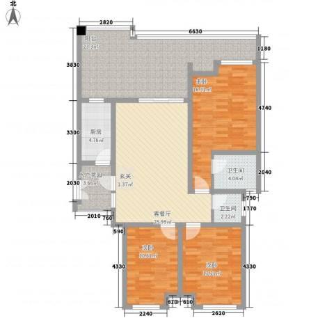 巨龙江山国际3室1厅2卫1厨148.00㎡户型图