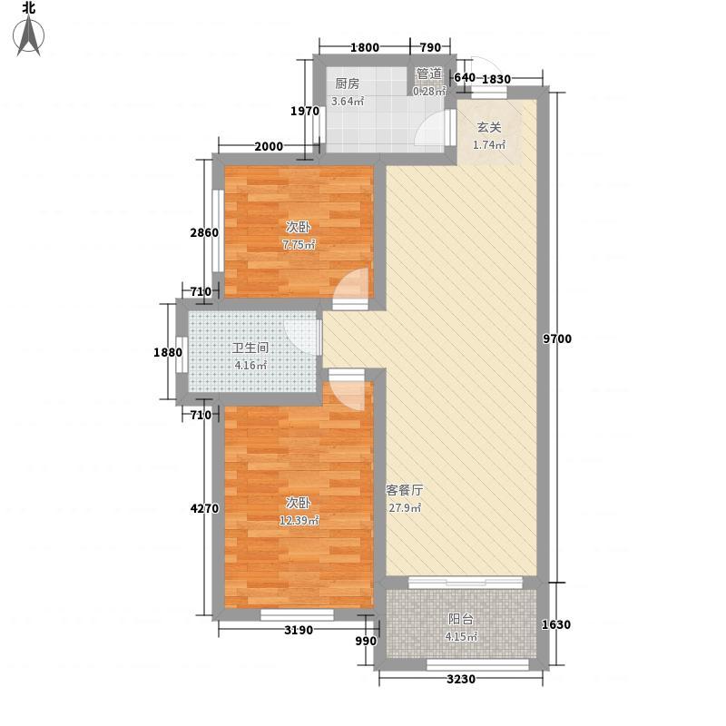 建业壹号城邦388.32㎡A3户型2室2厅1卫1厨