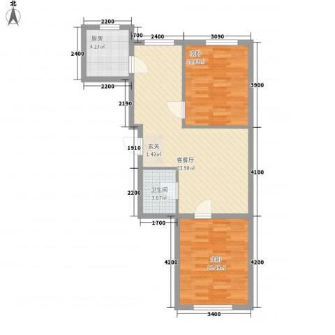 水木清华2室1厅1卫1厨75.00㎡户型图