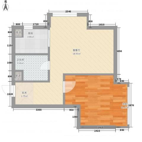 阳光金峰阁1室1厅1卫1厨63.00㎡户型图