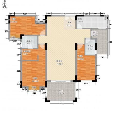 富龙翡翠欧庭3室1厅2卫1厨153.00㎡户型图