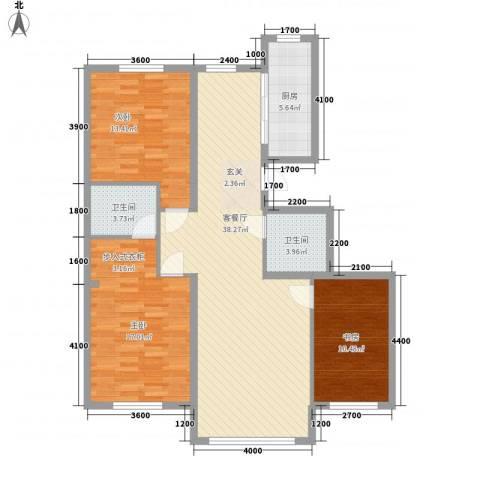 水木清华3室1厅2卫1厨127.00㎡户型图