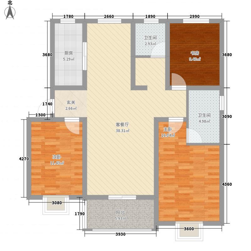碧溪玫瑰园135.00㎡D3户型3室