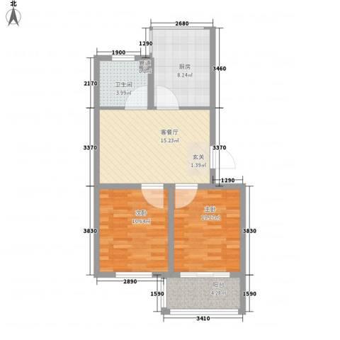 瑞合领秀恋恋山城2室1厅1卫1厨76.00㎡户型图