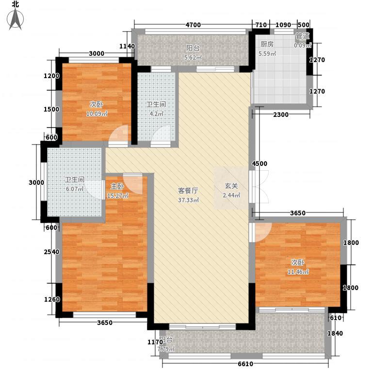 翰林世家133.61㎡3期1批次5、7栋D户型3室2厅2卫1厨
