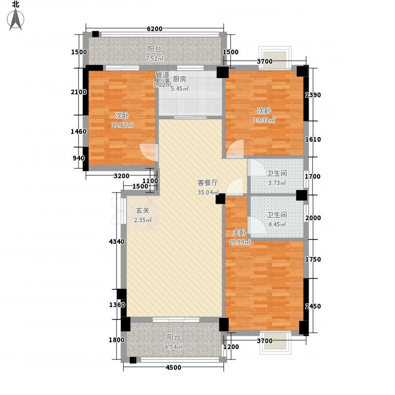 飞旋塘宁湾61137.20㎡6#楼01/04单元3室户型3室2厅2卫1厨