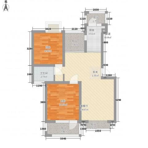 尼盛青年城2室1厅1卫1厨87.00㎡户型图