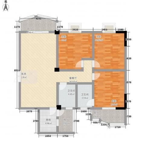 水岸绿苑3室1厅2卫1厨148.00㎡户型图