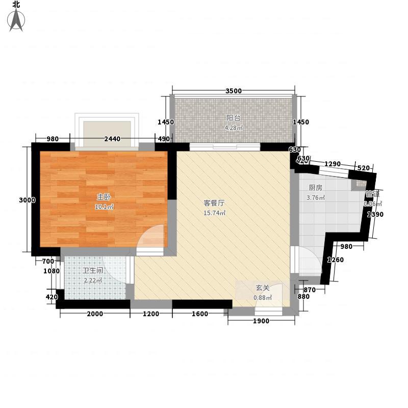 锦绣山庄47.51㎡A户型1室1厅1卫1厨