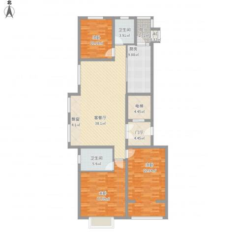 光信国信嘉园3室1厅2卫1厨166.00㎡户型图