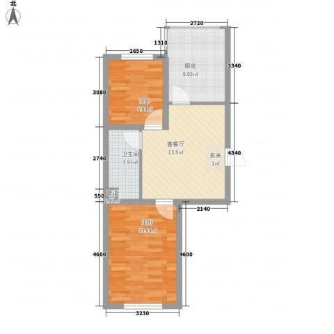 瑞合领秀恋恋山城2室1厅1卫1厨66.00㎡户型图