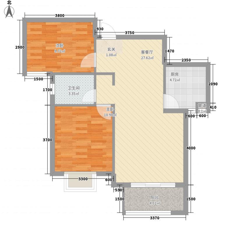 东煜时代223.20㎡D户型2室2厅1卫1厨