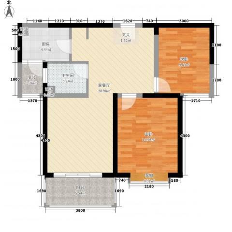 天都首郡2室1厅1卫1厨84.00㎡户型图