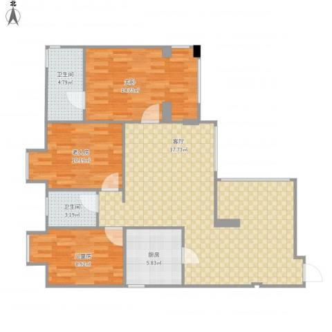 华润上地项目 华润橡树湾 华润置地橡树湾 学府树家园3室1厅2卫1厨116.00㎡户型图