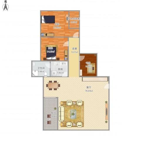 流行前线3室1厅1卫1厨187.00㎡户型图
