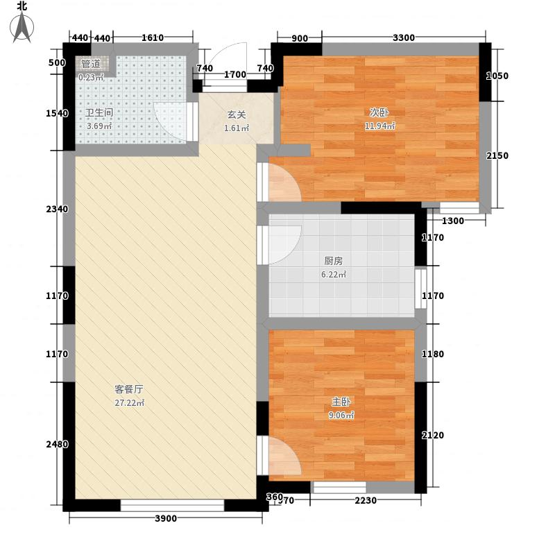 德馨�湖82.00㎡C13#C14#C18#C19#D7#D8#2F户型2室2厅1卫