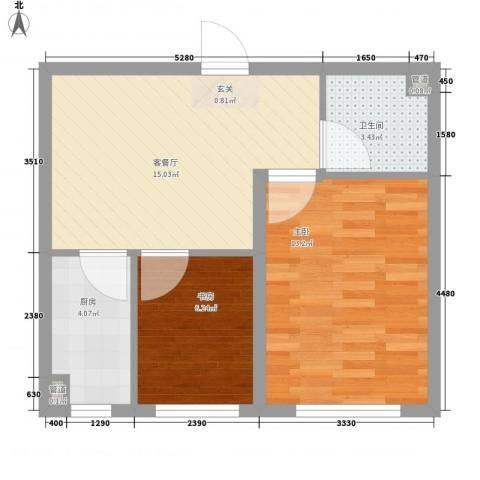 瑞合领秀恋恋山城2室1厅1卫1厨42.15㎡户型图