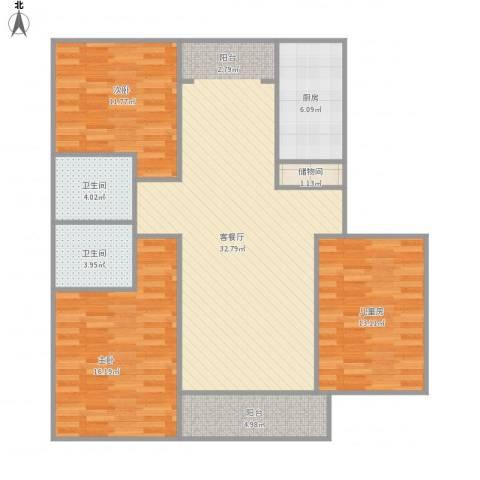 新时代景庭1013室1厅2卫1厨130.00㎡户型图
