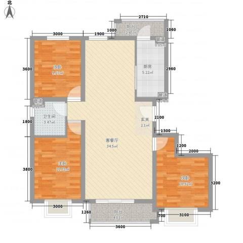 兰馨花园项目3室1厅1卫1厨127.00㎡户型图
