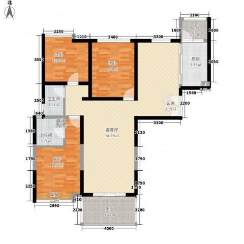 天都首郡3室1厅2卫1厨134.00㎡户型图