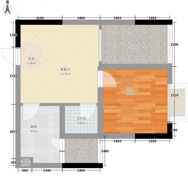 御景华庭48.73㎡2栋1单元3#户型1室1厅1卫1厨