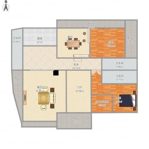 雅居乐滨江国际2室2厅3卫1厨237.00㎡户型图