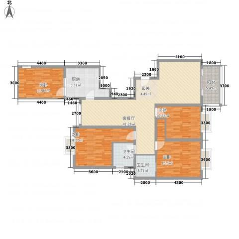 香山锦苑二期4室1厅2卫1厨165.00㎡户型图