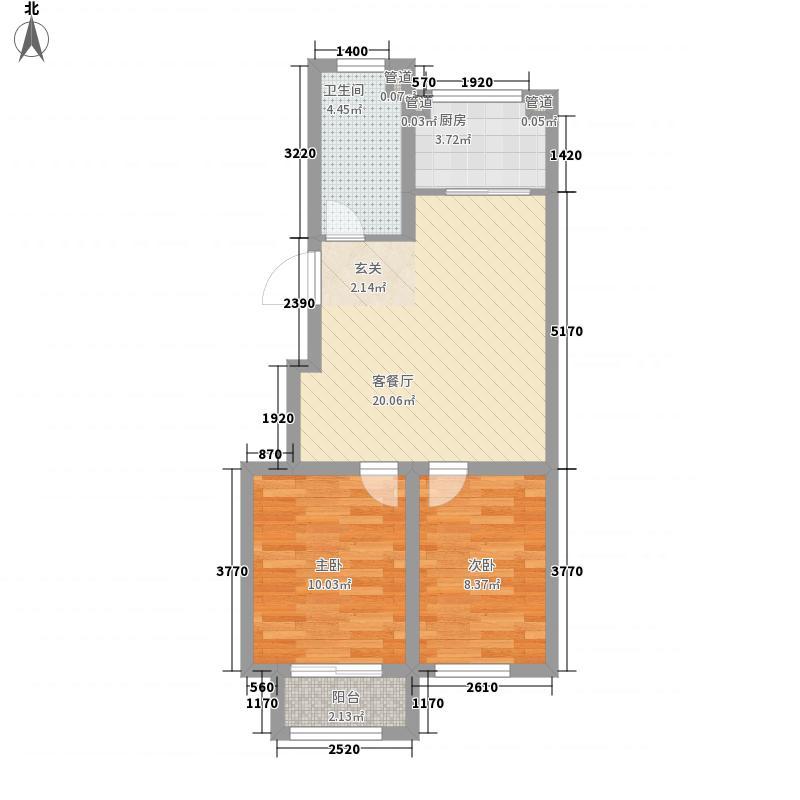 威海山水城71.25㎡C户型2室1厅1卫1厨