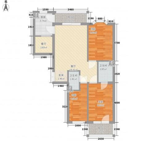 优度社区3室2厅2卫1厨89.00㎡户型图
