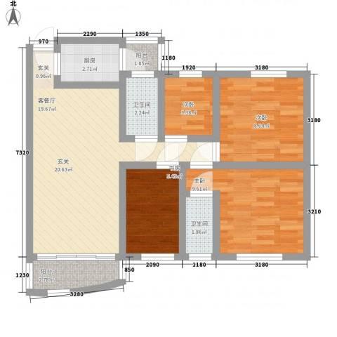 东华园4室0厅2卫1厨89.00㎡户型图