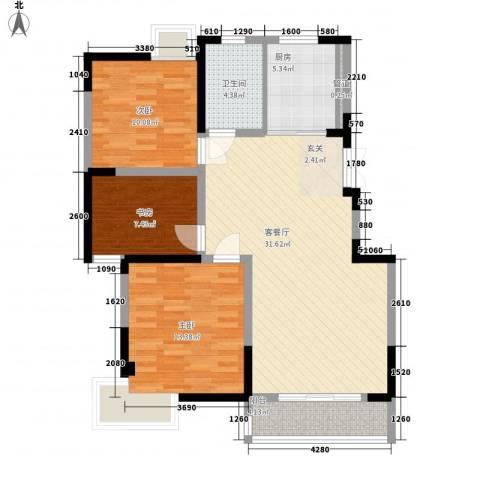 名城运河锦园3室1厅1卫1厨110.00㎡户型图