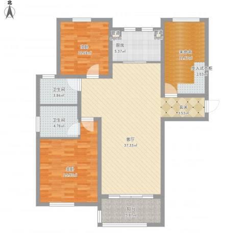 德仁・翡翠城2室1厅2卫1厨136.00㎡户型图