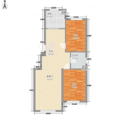 水岸雅居2室1厅1卫1厨87.00㎡户型图