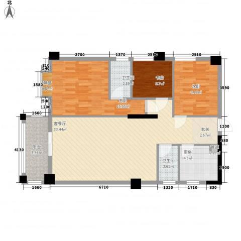 国兆蜜园3室1厅2卫1厨79.35㎡户型图