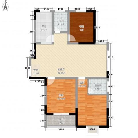 南湖家苑(二期)3室1厅2卫1厨120.00㎡户型图