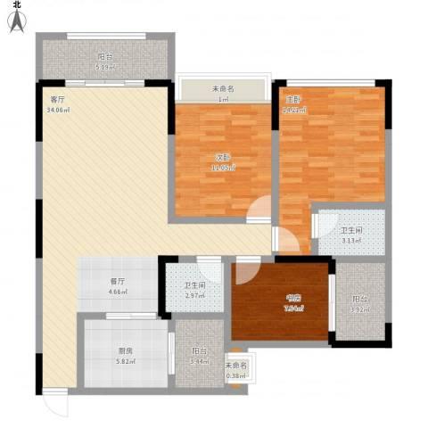 万港汇景苑3室1厅2卫1厨135.00㎡户型图