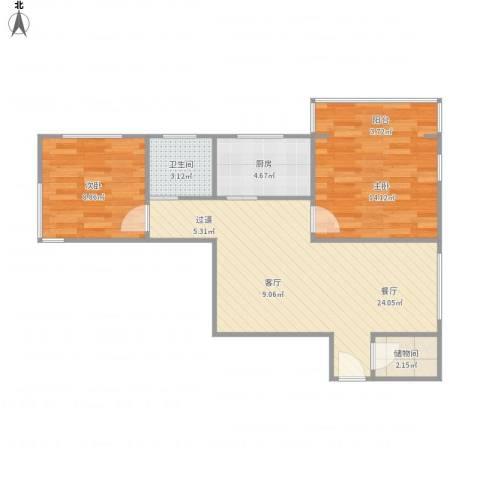 胶州教师公寓-常德路999号-04082室1厅1卫1厨77.00㎡户型图