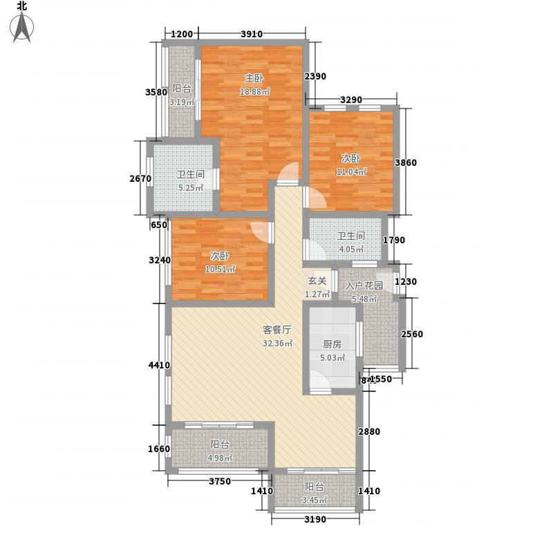 融豪・翡翠城128.00㎡C3F、4F、5F、双卫户型3室2厅2卫1厨