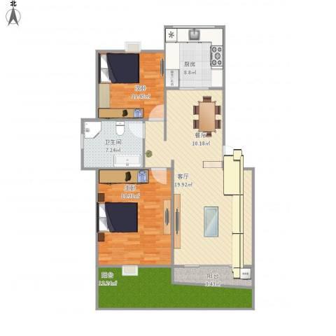 上海阳城2室1厅1卫1厨102.28㎡户型图