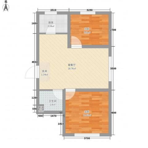 辽阳第一城2室1厅1卫1厨46.13㎡户型图