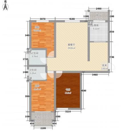 泰丰 时代城二期3室1厅2卫1厨126.00㎡户型图