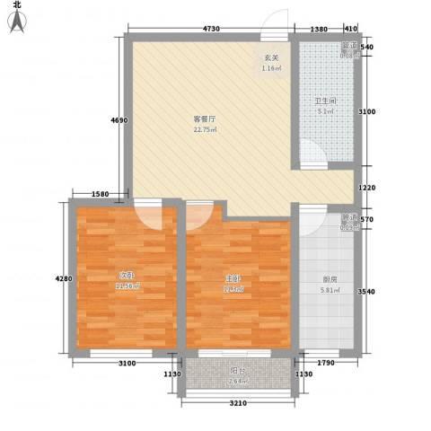 泰丰 时代城二期2室1厅1卫1厨86.00㎡户型图