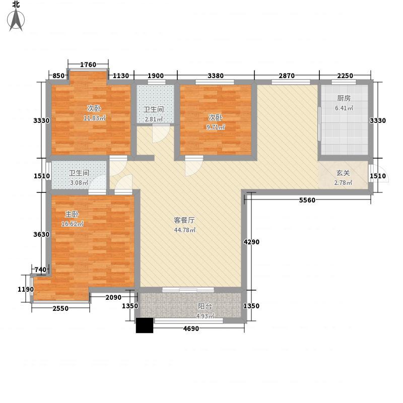 丽彩・怡和润源143.43㎡15号楼西户型3室2厅2卫1厨