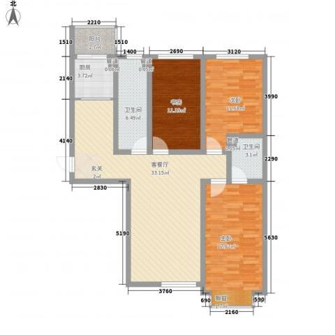 泰丰 时代城二期3室1厅2卫1厨129.00㎡户型图