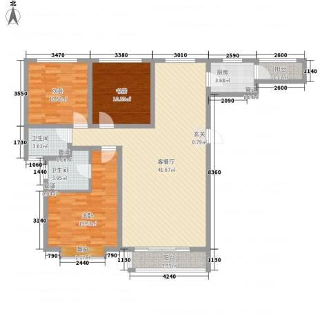 泰丰 时代城二期3室1厅2卫1厨136.00㎡户型图